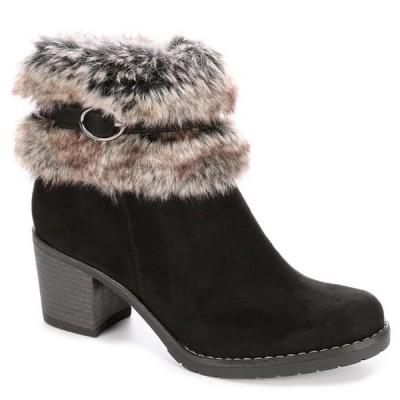 レディース 靴 ブーティ Xappeal Womens Bunny Faux Fur Heeled Ankle Boot Shoes