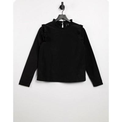 ヴェロモーダ Vero Moda レディース Tシャツ トップス high neck t-shirt with ruffle trims in black ブラック