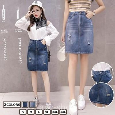 ミニスカート無地スカートクラッシュ¥/ダメージデニムパンツ膝丈スカート2020年夏新作Aラインスカートデニムスカート