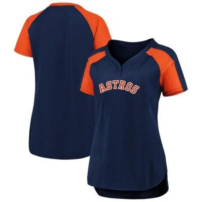 レディース スポーツリーグ メジャーリーグ Houston Astros Fanatics Branded Women's Plus Size Iconic League Diva Raglan V-Neck T-Shir