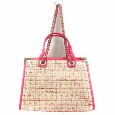 【中古】レディ Rady バッグ ワンショルダー 2way ツイード ロゴ ピンク アイボリー /SR  ■SH レディース