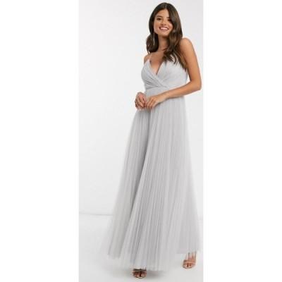 エイソス ASOS DESIGN レディース ワンピース キャミワンピ ワンピース・ドレス cami pleat tulle maxi dress in silver シルバー