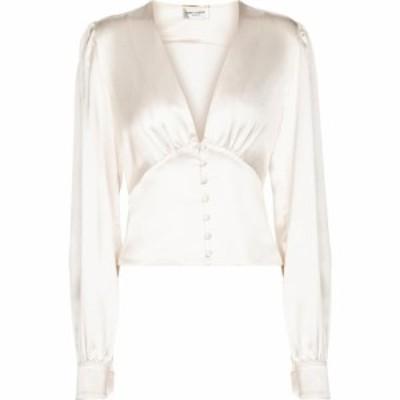 イヴ サンローラン Saint Laurent レディース ブラウス・シャツ トップス Silk blouse Blanc Lait