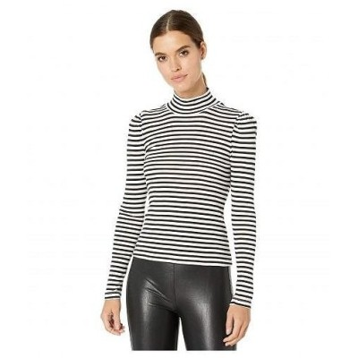 Splendid スプレンデッド レディース 女性用 ファッション Tシャツ Striped Long Sleeve Turtleneck - Black/Off-White