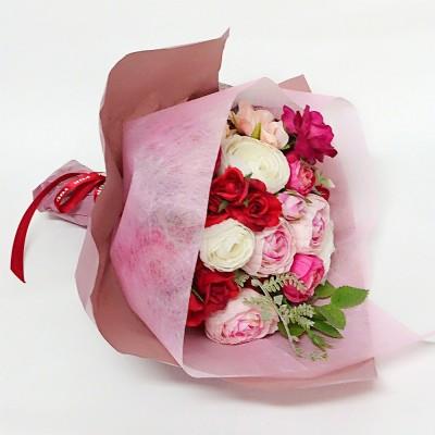 Flower shop CRANZ フラワーショップ クランツ  フラワーアーティストが作るお任せ生花ブーケ(レッド・ピンク系)