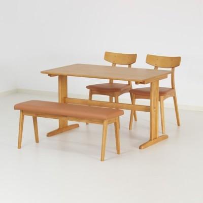 ダイニングテーブルセット 4点 ダイニングテーブル 120cm ダイニングチェア 肘無し ベンチ 105cm 4人掛け Monika 4piece