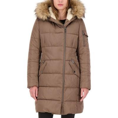 ヴィンス カムート Vince Camuto レディース ダウン・中綿ジャケット アウター Faux-Fur-Trim Hooded Asymmetrical Puffer Coat Mink