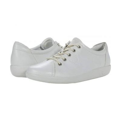 ECCO エコー レディース 女性用 シューズ 靴 スニーカー 運動靴 Soft 2.0 Tie Sneaker - White Cow Leather