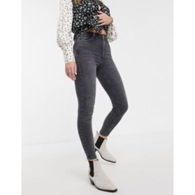 トップショップ レディース デニムパンツ ボトムス Topshop Jamie skinny jeans in washed black Washed black