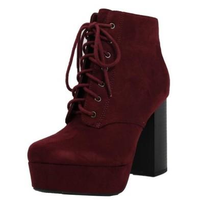 レディース 靴 ブーティ Delicious Women's Lace Up Platform Chunky Block Heel Ankle Boot