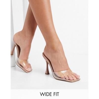 エイソス ASOS DESIGN レディース サンダル・ミュール スクエアトゥ シューズ・靴 Asos Design Wide Fit Nero Square Toe Mules In Clear クリア