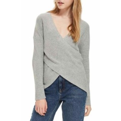 Topshop トップショップ ファッション トップス TopShop NEW Gray Womens Size 12 V-Neck Wrap Front Ribbed Sweater