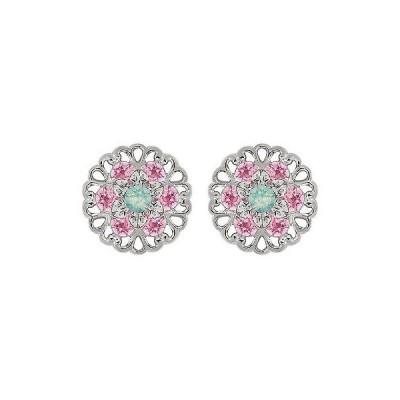 ジュエリー ファッション イヤリング Lucia Costin Sterling Silver Mint Blue/ Light Pink Crystal Earrings