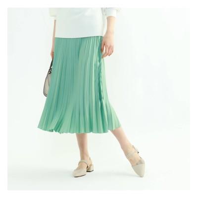 【インディヴィ/INDIVI】 「S」【WEB限定カラー】ドレープサテン切り替え風プリーツスカート