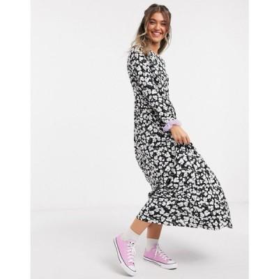 エイソス ASOS DESIGN レディース ワンピース ワンピース・ドレス maxi smock dress in black and white floral print ブラックフローラル