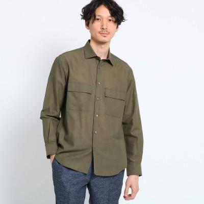 タケオ キクチ TAKEO KIKUCHI 【Sサイズ~】Herdmans Linen ダブルポケットシャツ (モスグリーン)