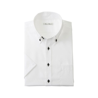綿100%形態安定半袖ワイシャツ(ドゥエボタンダウン)(標準シルエット) 大きいサイズメンズ (ワイシャツ)Shirts,