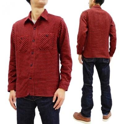 シュガーケーン 格子チェックツイル ワークシャツ SC28229 東洋 メンズ 長袖シャツ ネルシャツ レッド 新品