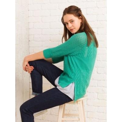 【大きいサイズ】透かし編みニット×シャツ見えノースリーブカットソーアンサンブル 大きいサイズ トップス・チュニック レディース