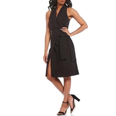 ダナキャラン レディース ワンピース トップス New York Sleeveless Tie Waist Wrap Dress
