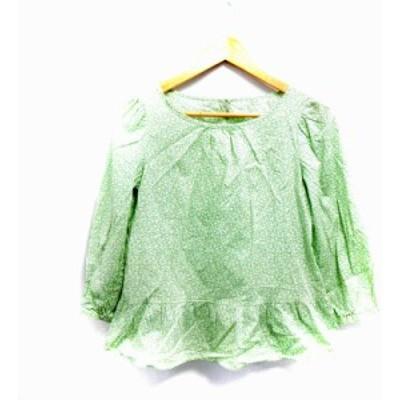 【中古】クミキョク 組曲 KUMIKYOKU ブラウス 七分袖 花柄 ボートネック 2 緑 グリーン /NM レディース