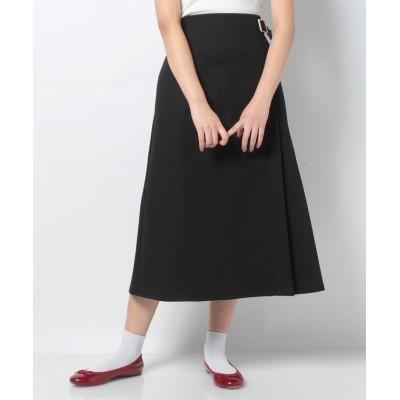 【プニュズ】 サイドプリーツロングスカート レディース ブラック 3 PUNYUS