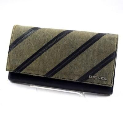 DIESEL / ディーゼル  二つ折り長財布/キャンバス/グレー×ブラック メンズファッション 中古