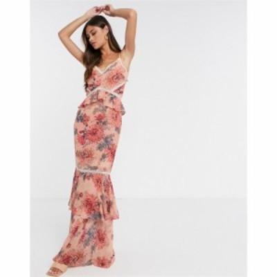 ホープ&アイビー Hope and Ivy レディース ワンピース ワンピース・ドレス floral print fishtail maxi dress ピンク