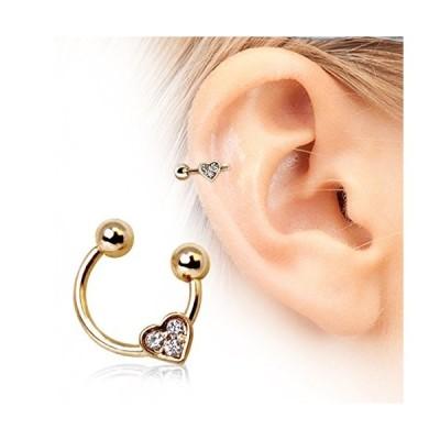 Gold Heart Gemmed Horseshoe Cartilage Earring 316L Surgical Steel