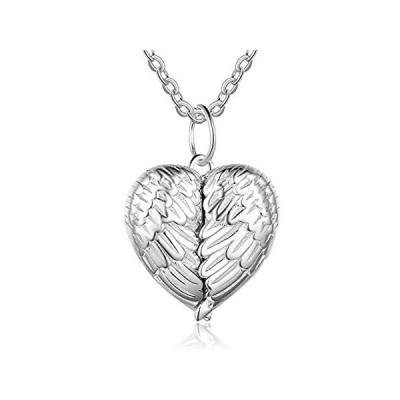 Engraved Locket Necklace for Women Dainty 0.86 inch Sterling Silver Heart L