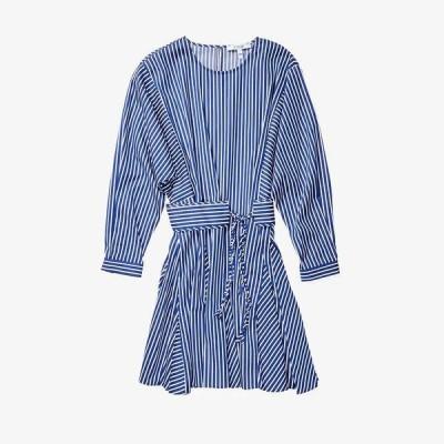 デレクラムテンクロスバイ ワンピース トップス レディース Long Sleeve Godet Skirt Dress Blue