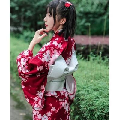 レディース浴衣 着物  仕立て上がり 洗える ワインレッド 結び帯 飾り紐 腰紐 桜の柄 綿100 高級 綿麻 花火大会 お祭り