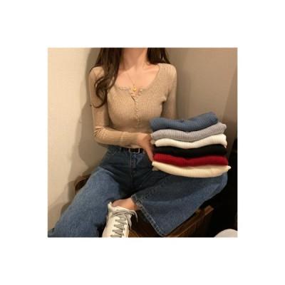 【送料無料】ボタン 内掛け下塗 ニット 女 春秋 セーターを着る 着やせ 着やせ 長 | 364331_A64632-2886988