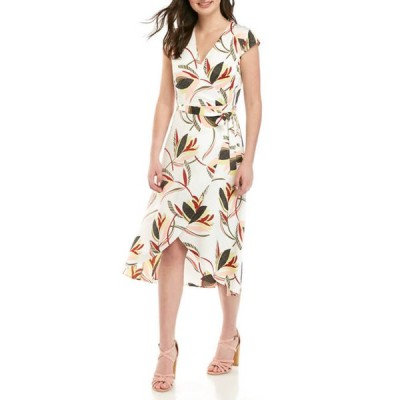 マディソン レディース ワンピース トップス Women's Wrap Printed Midi Dress