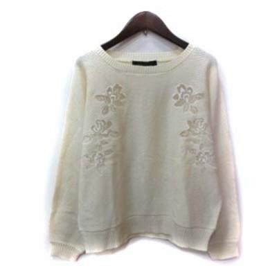 【中古】マーキュリーデュオ MERCURYDUO ニット セーター 長袖 刺繍 F 白 オフホワイト /YI レディース