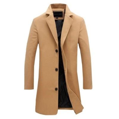 メンズ ロングコート メルトン 秋冬 大きいサイズ トレンチコート チェスター ボタン 防寒 暖かい 修身 紳士服 無地