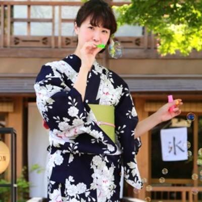 浴衣 紺 セット レトロ高級変わり織り綿浴衣3点セット「紺地に牡丹と桜古典柄」