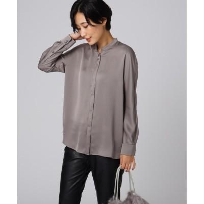 UNTITLED essential clue(アンタイトル エッセンシャルクルー) 【洗える】ローヌダブルサテンシャツ