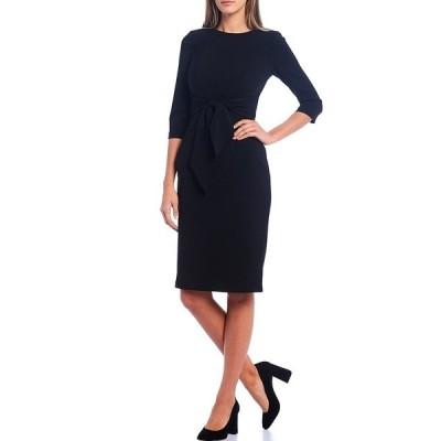 アドリアナ パペル レディース ワンピース トップス Stretch Crepe Knit Tie Waist 3/4 Sleeve Midi Sheath Dress Black