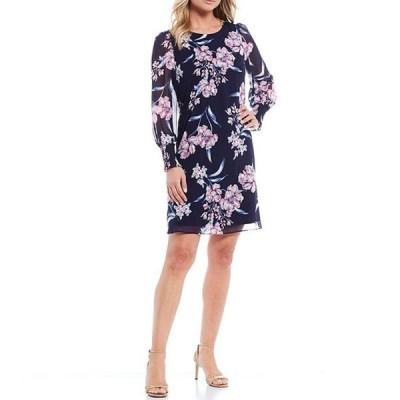 ジェシカハワード レディース ワンピース トップス Long Balloon Sleeve Puff Floral Chiffon A-line Dress