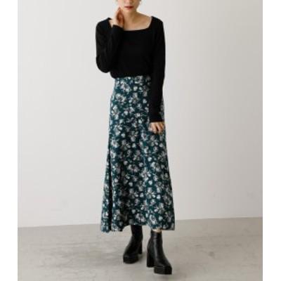 【50%OFF】 FLOWER PATTERN SIDE SLIT SKIRT/フラワーパターンサイドスリットスカート WOMENSレディース