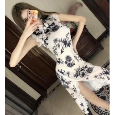 チャイナドレス ワンピース ドレス チャイナ風 スタンドネック 半袖 ショート丈 エレガント 上品 韓国 ファッション 花柄 セクシー 夏服