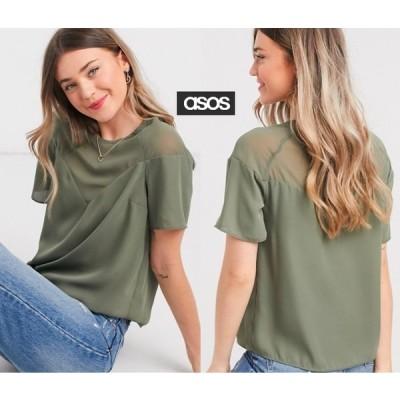 Tシャツ 半袖 ASOS スイートハートネックライン薄手Tシャツ