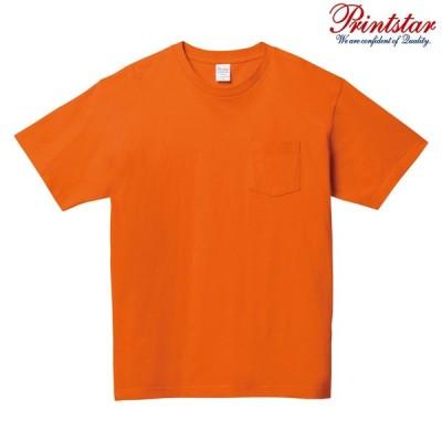 メンズ Tシャツ 半袖 Vネック ポケット付き ヘビーウェイト 5.6オンス 無地 オレンジ L サイズ 109-PCT
