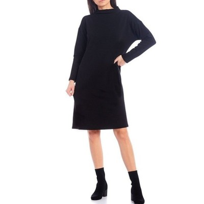 エイリーンフィッシャー レディース ワンピース トップス Tencel Organic Cotton Fleece Long Sleeve Funnelneck Knee Length Dress