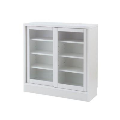 カウンター下収納 引戸 幅90.5cm ホワイト ガラス扉 高さ88cm カウンター DELUX 日本製 完成品 no-0137