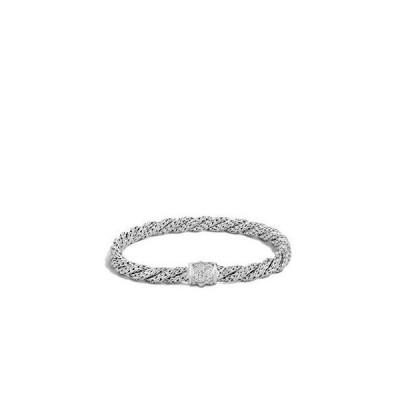 レディースツイストチェーン シルバーダイヤモンド パヴェ 小型フラットブレスレット プッシャークラ
