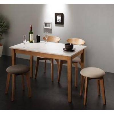 ダイニングテーブルセット 4人用 椅子 おしゃれ 安い 北欧 食卓 5点 ( 机+チェア2脚+スツール2脚 ) ホワイト×ナチュラル 幅115 デザイ