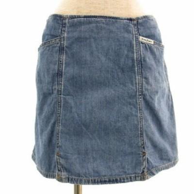 【中古】ゲス GUESS スカート ミニ デニム ユーズド加工 ブルー系 青 28 レディース