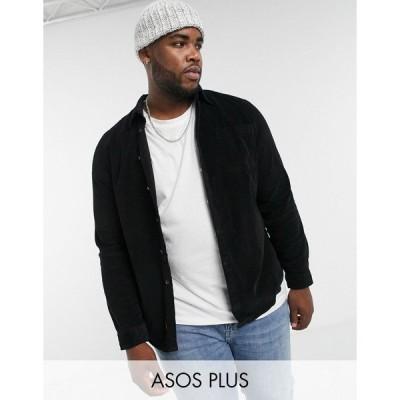エイソス メンズ シャツ トップス ASOS DESIGN Plus slim fit cord shirt in black Black